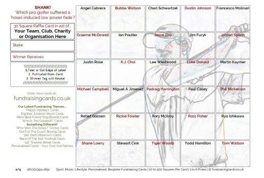 A5 `Shank` Golf Fundraising Raffle Ticket / Draw Cards / Scratchcards