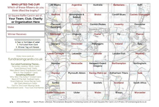 A5 `Cup Winners` Rugby Union Fundraising Scratch Cards / Raffle Ticket / Draw Cards