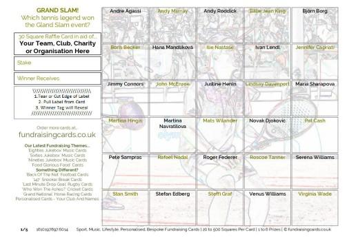 A5 `Grand Slam` Tennis Fundraising Scratch Cards / Raffle Ticket / Draw Cards