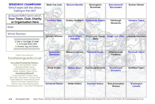 A5 `Speedway Champions` Motor Racing Fundraising Scratch Cards / Raffle Ticket / Draw Cards