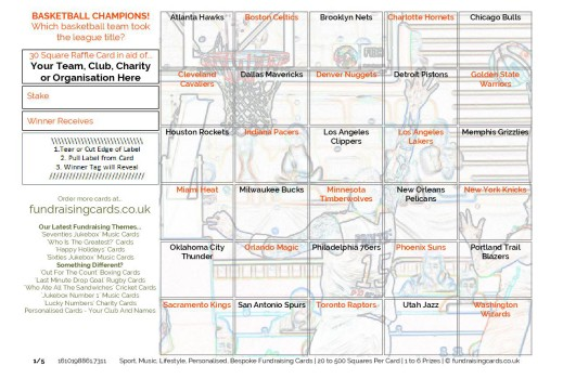 A5 `NBA Champions` Basketball Fundraising Scratch Cards Raffle Ticket / Draw Cards