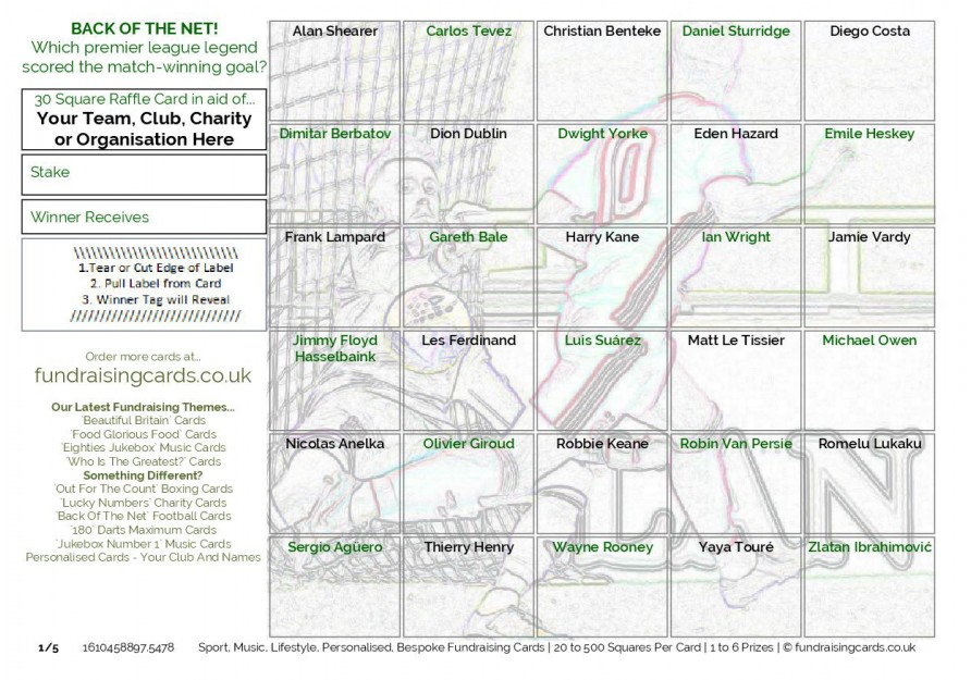 A5 `Back Of The Net` Football Fundraising Scratch Cards / Raffle Ticket / Draw Cards