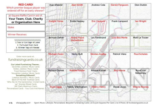 A5 `Red Card` Football Fundraising Scratch Cards / Raffle Ticket / Draw Cards