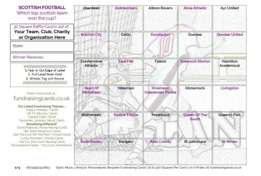 A5 `Scottish Cup Winners` Football Fundraising Scratch Cards / Raffle Ticket / Draw Cards