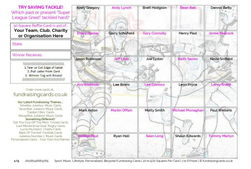 A5  `Try Saving Tackle` Rugby League Fundraising Scratch Cards / Raffle Ticket / Draw Cards