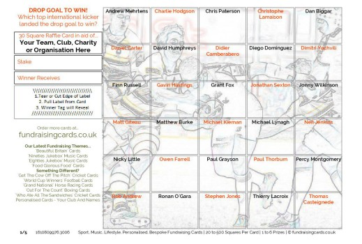 A5 `Drop Goal` Rugby Union Fundraising Scratch Cards / Raffle Ticket / Draw Cards