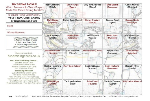 A5  `Try Saving Tackle` Rugby Union Fundraising Scratch Cards / Raffle Ticket / Draw Cards