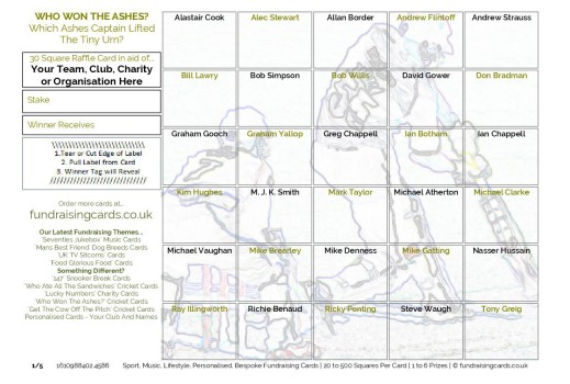 A5 `The Ashes` Cricket Fundraising Scratch Cards / Raffle Ticket / Draw Cards