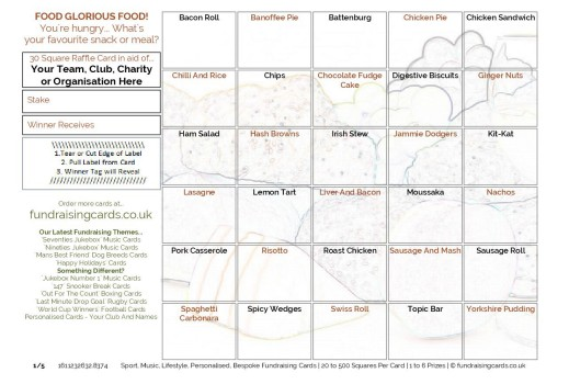 A5 `Food Glorious Food` Fundraising Scratch Cards / Raffle Ticket / Draw Cards