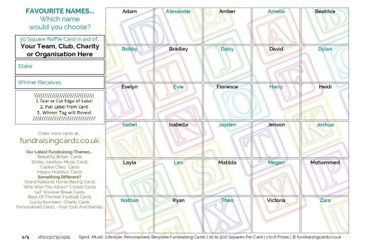 A5 `Baby / Favourite Names` Fundraising Scratch Cards / Raffle Ticket / Draw Cards