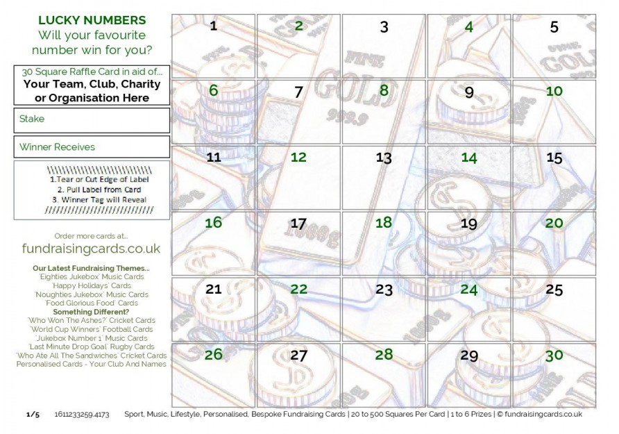 A5 `Lucky Numbers` Charity Fundraising Scratch Cards / Raffle Ticket / Draw Cards