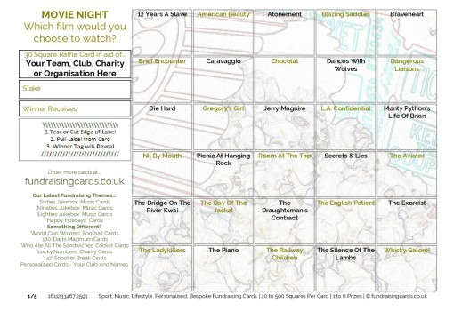 A5 `Movie Night` Fundraising Scratch Cards / Raffle Ticket / Draw Cards