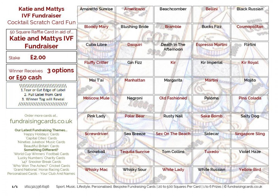 A5 `Personalised For You` Fundraising Scratch Cards / Raffle Ticket / Draw Cards