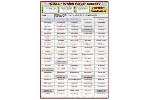 A4 `Goal` 100 Square Football Fundraising Scratch Card / Raffle / Draw Ticket