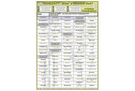 A4 `Howzat` 100 Square Cricket Fundraising Scratch Card / Raffle / Draw Ticket