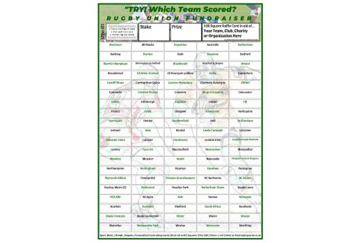 A4 `Try` 100 Square Rugby Union Fundraising Scratch Card / Raffle / Draw Ticket