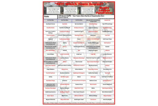 A4 `Try` 100 Square Rugby League Fundraising Scratch Card / Raffle / Draw Ticket
