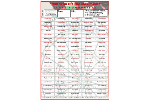 A4 `180` 100 Square Darts Fundraising Scratch Card / Raffle / Draw Ticket