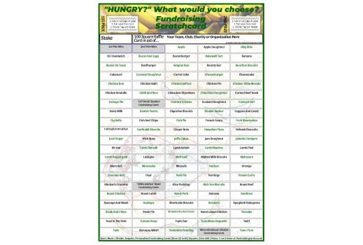 A4 `Hungry?` 100 Square Food Fundraising Scratch Card / Raffle / Draw Ticket