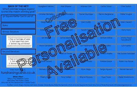 10 x `Back Of The Net` Football Fundraising Raffle Ticket / Draw Cards / Scratchcards