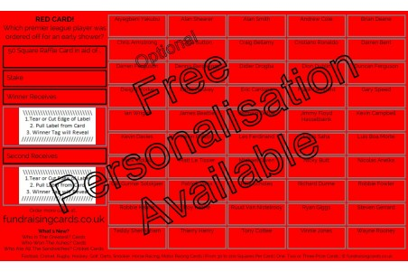 10 x `Red Card` Football Fundraising Raffle Ticket / Draw Cards / Scratchcards