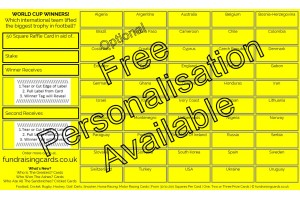 10 x `World Cup` Football Fundraising Raffle Ticket / Draw Cards / Scratchcards