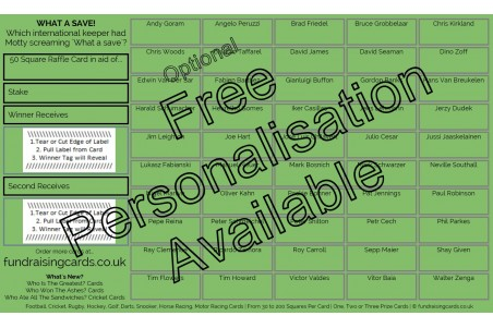 10 x `What a Save!` Football Fundraising Raffle Ticket / Draw Cards
