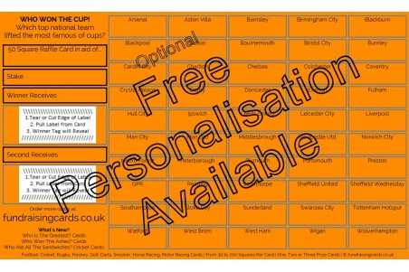 10 x `Cup Winners` Football Fundraising Raffle Ticket / Draw Cards / Scratchcards