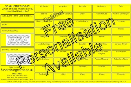 10 x `Cup Winners` Rugby Union Fundraising Raffle Ticket / Draw Cards / Scratchcards