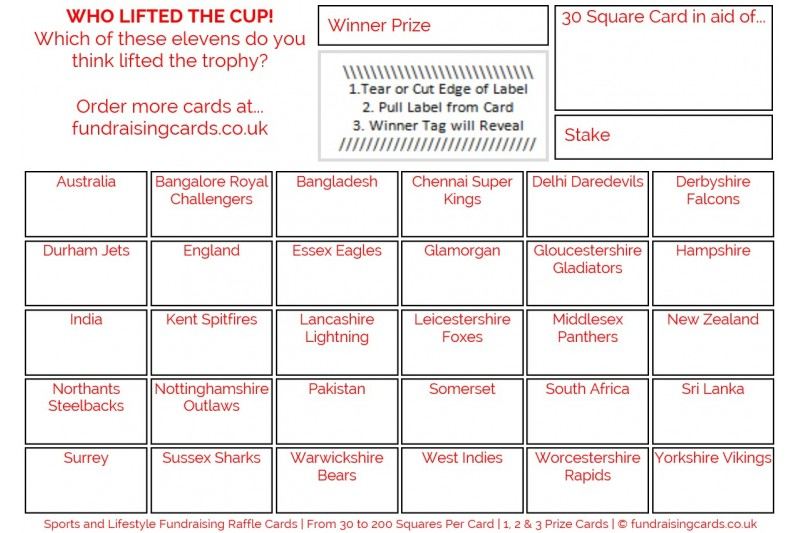 24 x Cricket Fundraising Cards / Raffle Ticket / Scratchcards Value Pack
