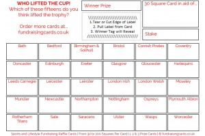24 x Rugby Union Fundraising Cards / Raffle Ticket / Scratchcards Value Pack