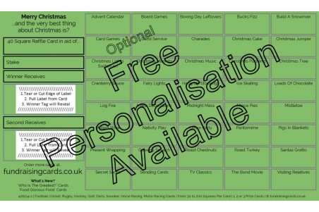 10 x `Christmas` Charity Fundraising Raffle Ticket / Draw Cards / Scratchcards
