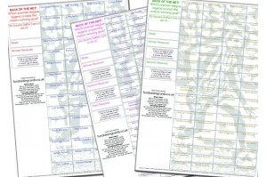 10 x A4 `Back Of The Net` Football Fundraising Raffle Ticket / Draw Cards / Scratchcards
