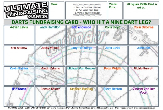 Ultimate A5 `Nine Dart Finish` Darts Fundraising Raffle / Draw / Scratch Cards