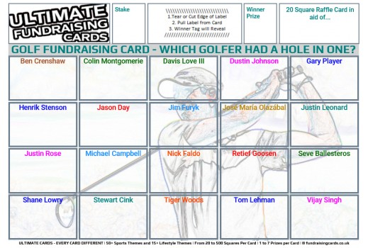 Ultimate A5 `Hole In One` Golf Fundraising Raffle / Draw / Scratch Cards