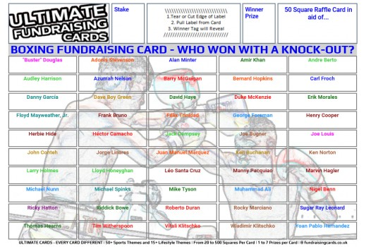 Ultimate A5 `Knock-Out` Boxing Fundraising Raffle / Draw / Scratch Cards
