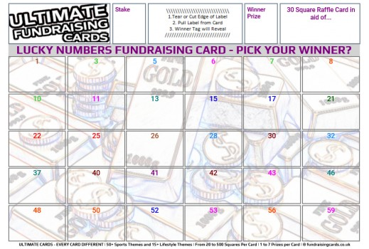 Ultimate A5 `Lucky Numbers` Fundraising Raffle / Draw / Scratch Cards