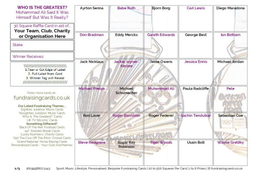 A5 `The Greatest` Sports Fundraising Scratch Cards / Raffle Ticket / Draw Cards