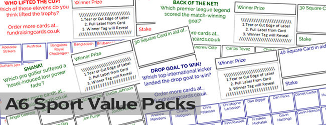 Fundraising Cards Value Packs - A6 Sport